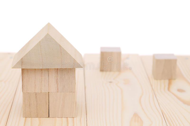 Wooden toy block house stock image