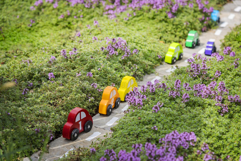 Wooden toy cars in garden stock photo