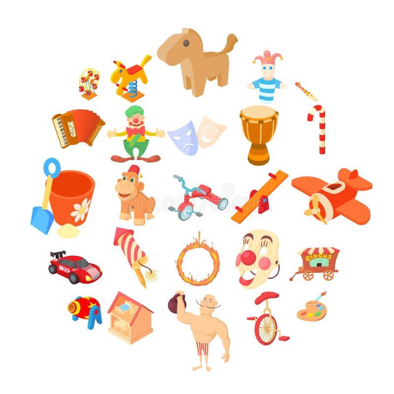 Wooden toy icons set, cartoon style. Wooden toy icons set. Cartoon set of 25 wooden toy vector icons for web isolated on white background royalty free illustration