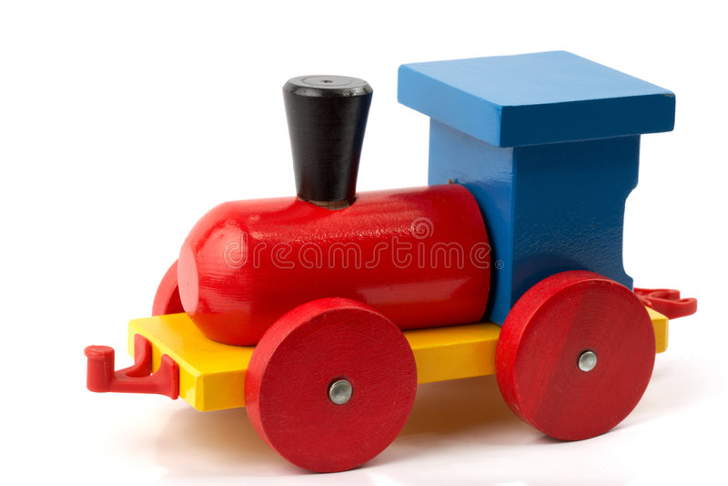 Wooden toy - locomotive stock image