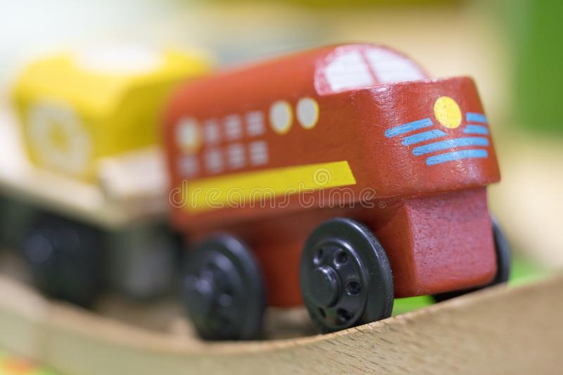 Red train Wooden toy - Toys for kids Play set Educational toys f. Wooden toy Red train - Toys for kids Play set Educational toys for preschool indoor stock photo