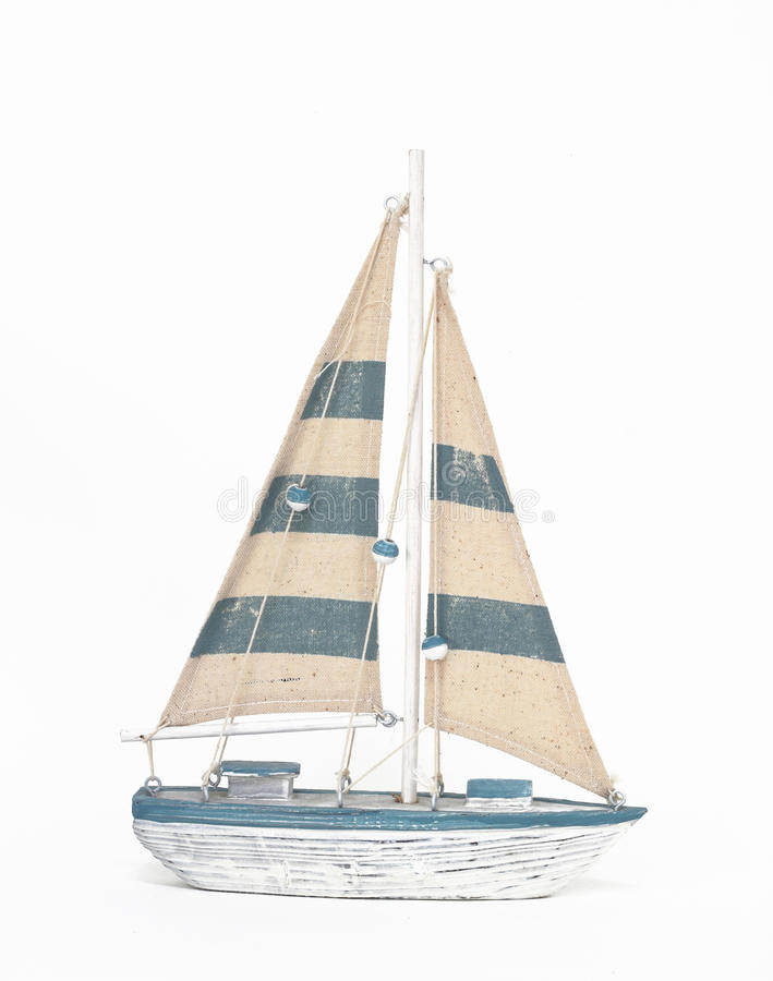 Wooden Toy Sailing Boat On White Background Stock Photo ...