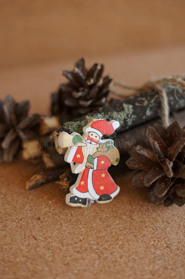 Download Wooden toy Santa stock photo. Image of winter, branch - 33840094