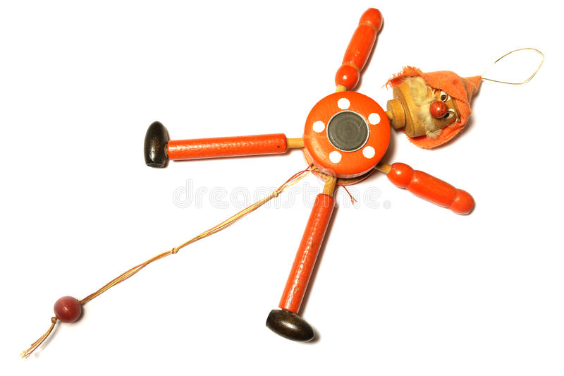 Wooden Toy Strong Pull Clown stock photo