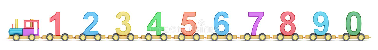 Wooden toy train with colorful numbers, 3D rendering vector illustration
