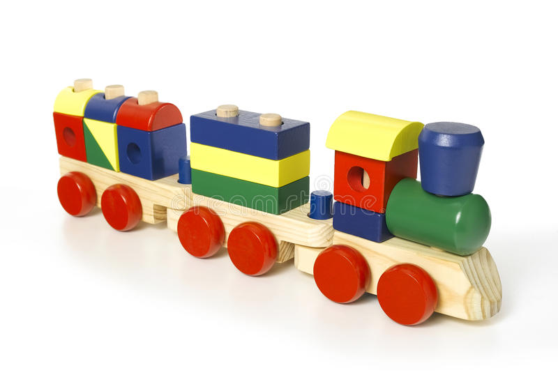 Wooden toy train. Isolated on a white background stock photos
