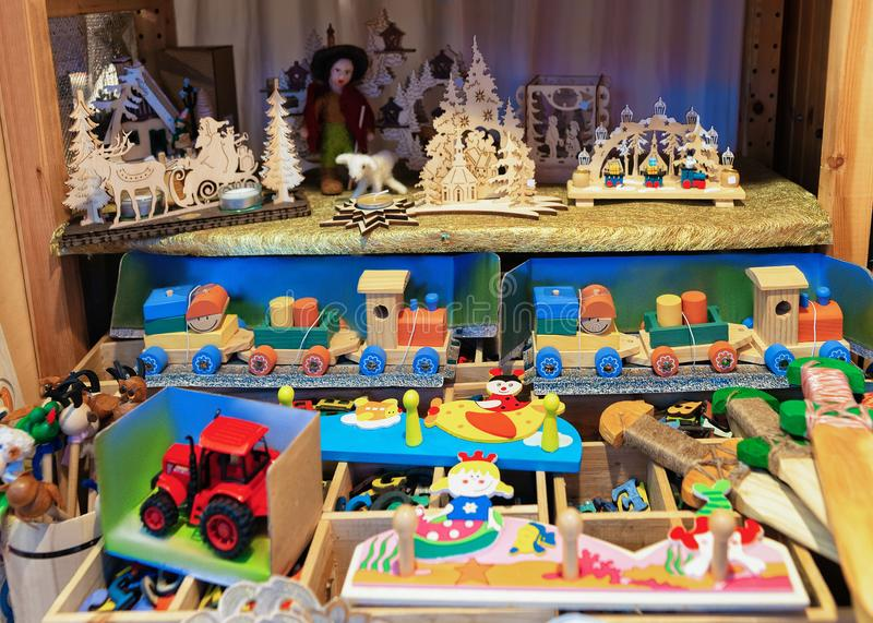 Wooden toys at Christmas Market at Charlottenburg Palace Winter Berlin royalty free stock images