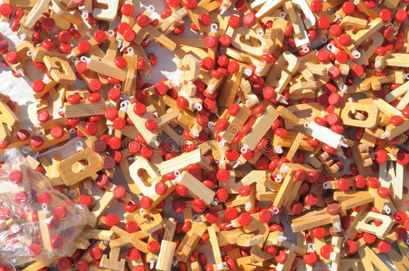 Wooden toys on a market stand royalty free stock image