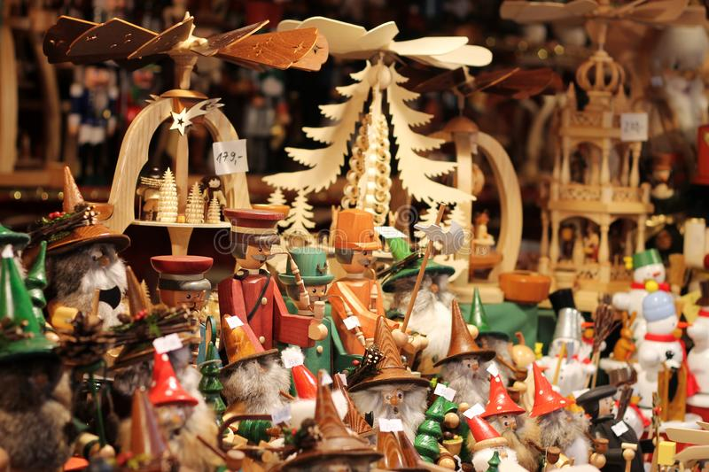 Wooden toys for sale at Christmas market in Dresden, Germany. stock photography