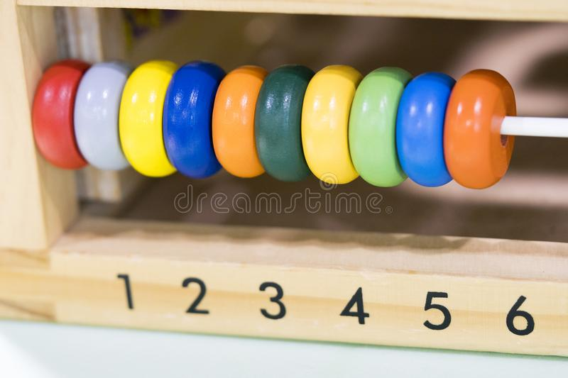 Wooden toys scores from one to six royalty free stock photography