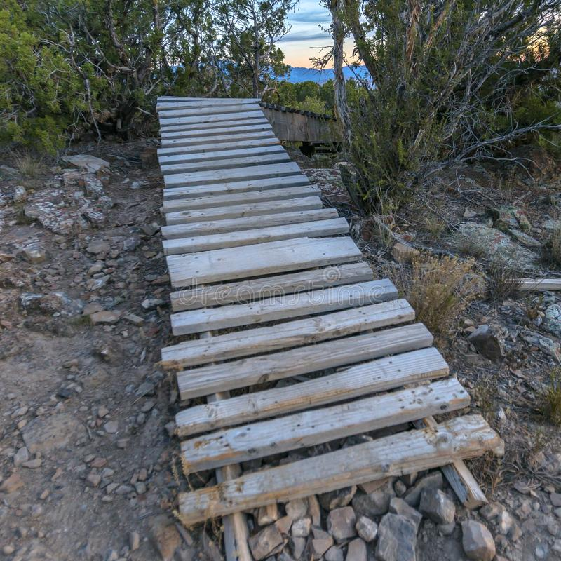 Wooden trail on a hill at sunset. Trailway made up of rectangular wood planks set on the dry rocky hill ground. The trail curves in the distance and plants stock photos