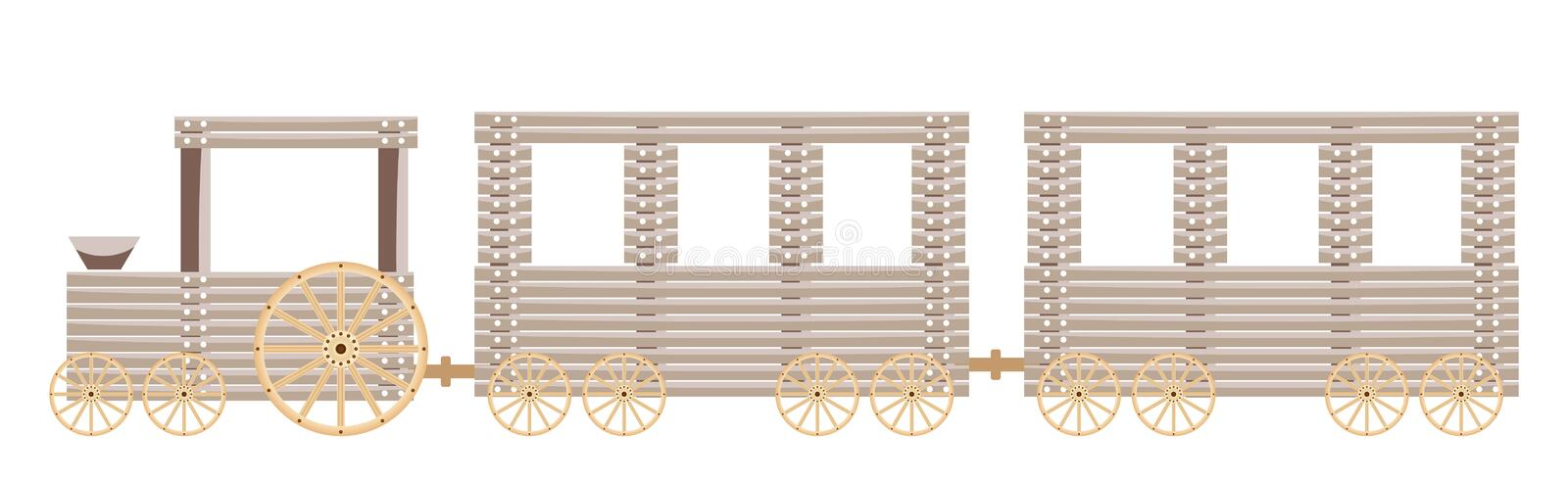 Wooden train isolated on white background. Vector illustration royalty free illustration