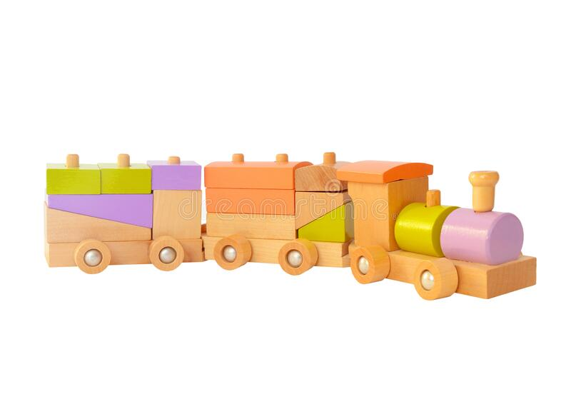 Wooden train toy isolated stock image