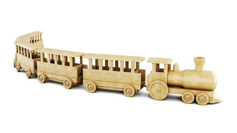 Wooden train on a white background. 3d. vector illustration