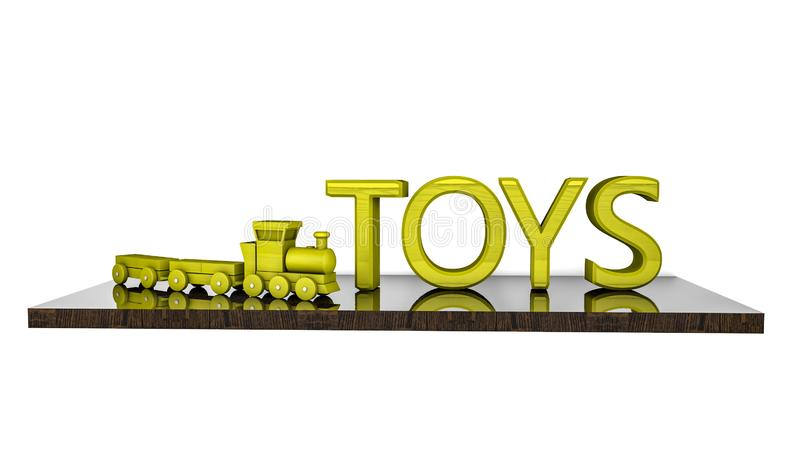 Wooden train and a word toy on the shelf. on a white background. 3D rendering royalty free illustration