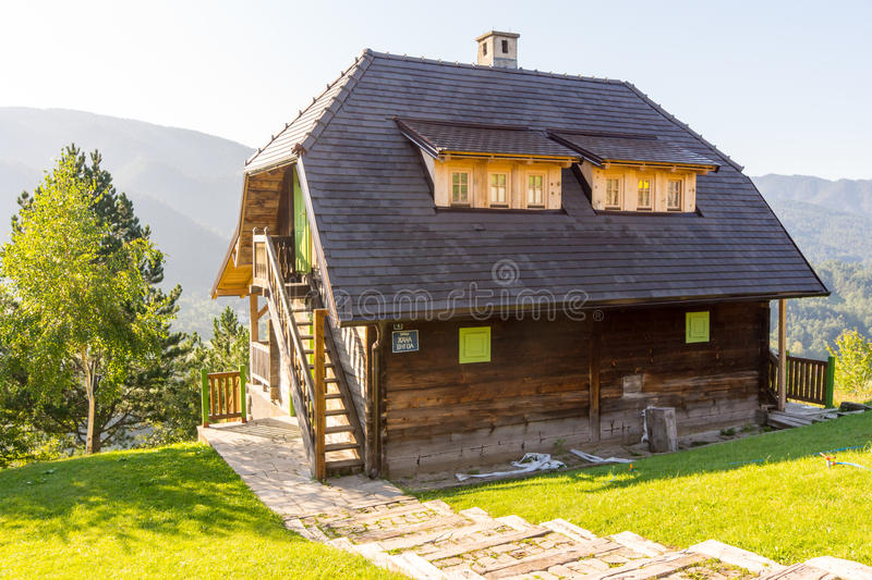 Wooden transitions home Kusturica in Drvengrad, Serbia royalty free stock photography