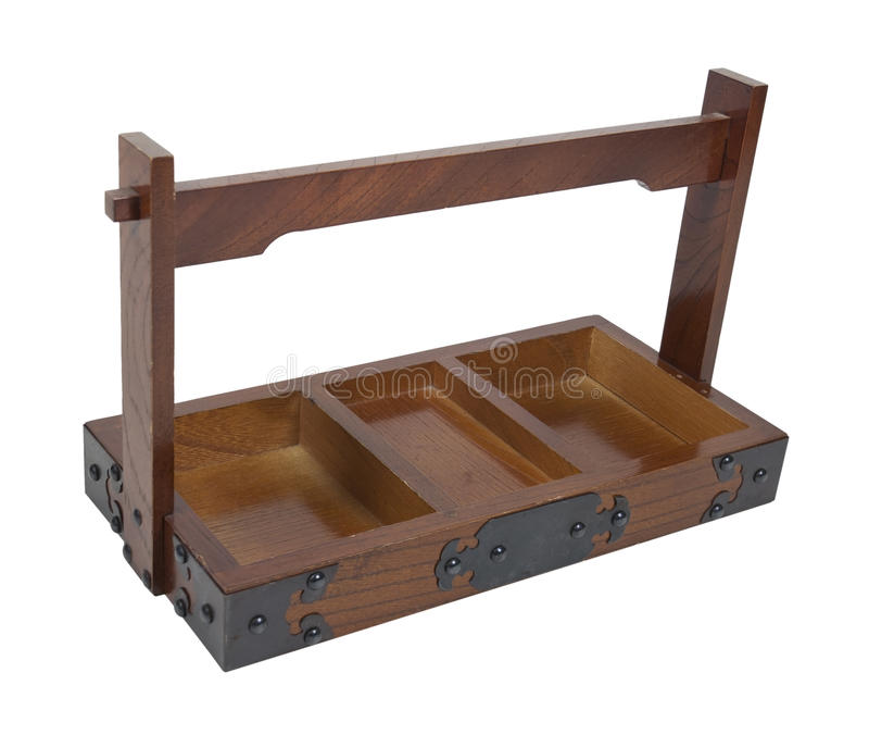 Wooden Tray with Metal Decorative Corners. Path included royalty free stock photo
