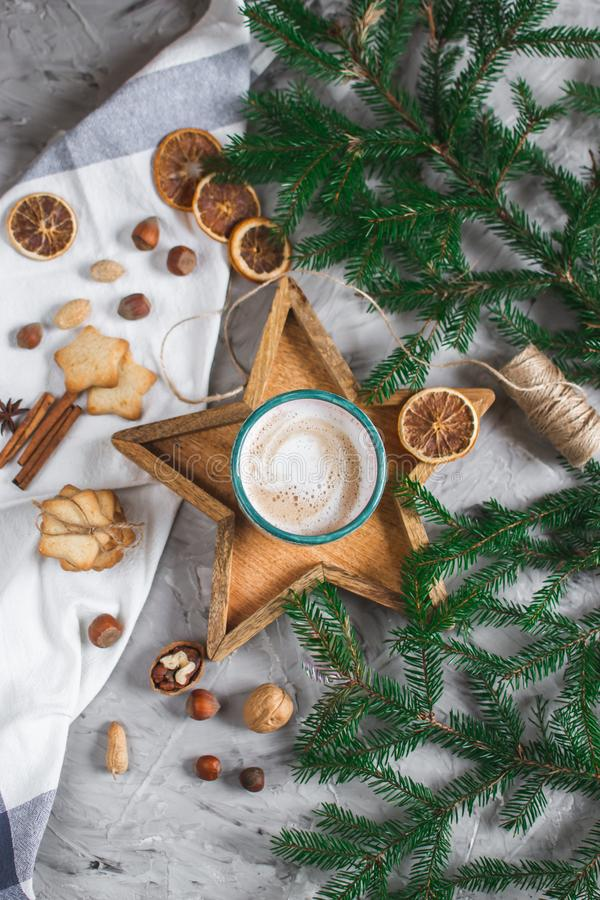 Wooden Tray Star Cup with Coffee Cappuccino Christmas Morning Cookies Decoration New Year Concept stock photo