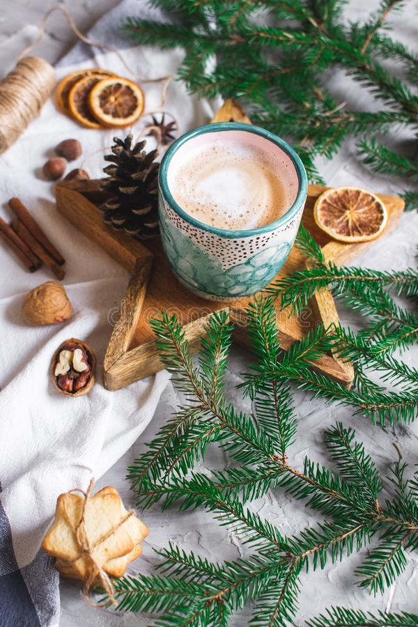 Wooden Tray Star Cup with Coffee Cappuccino Christmas Morning Cookies Decoration New Year Concept Winter Mood stock photos