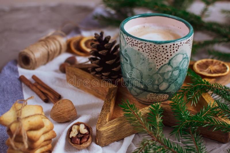 Wooden Tray Star Cup with Coffee Cappuccino Christmas Morning Cookies Decoration New Year Concept royalty free stock images