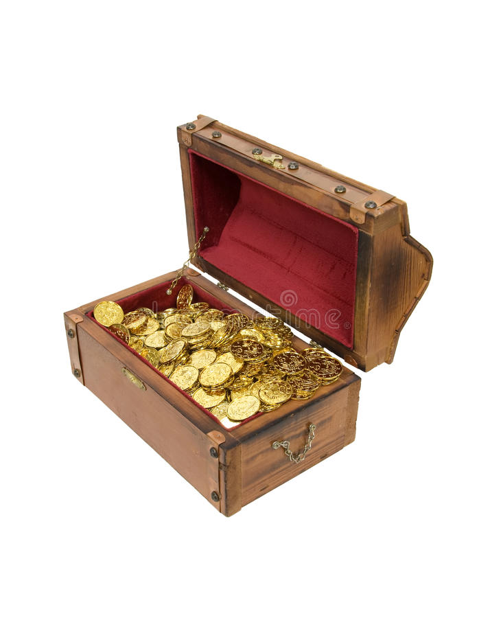 Wooden treasure chest with gold royalty free stock images