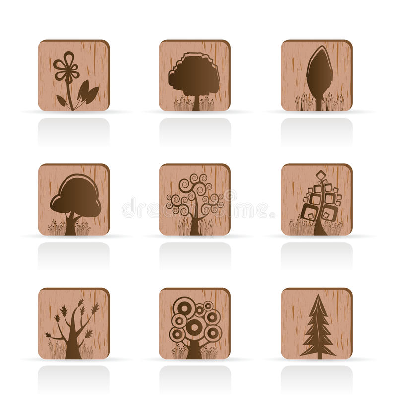 Download Wooden Tree Collection Icons Royalty Free Stock Photo - Image: 9730025