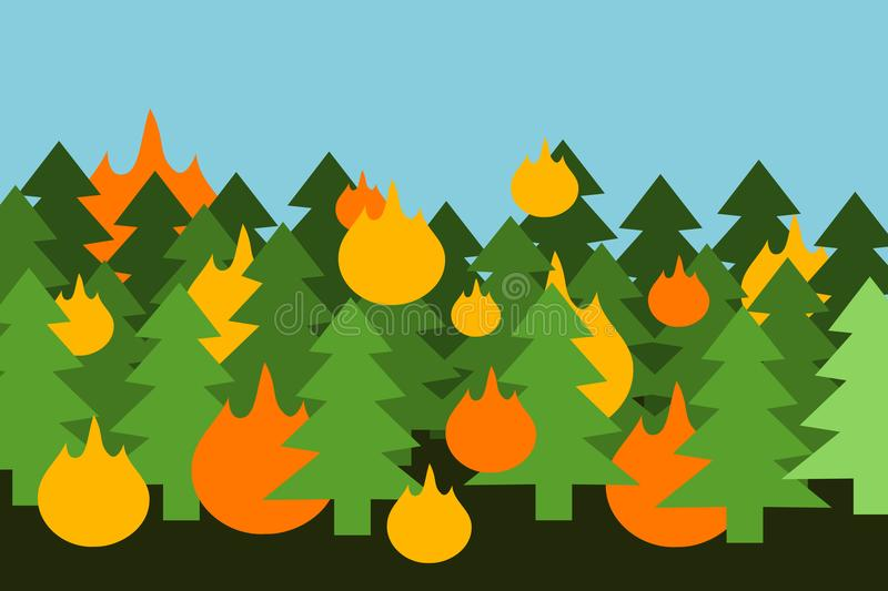 Wooden trees in forest and woods are buring - fire and flame royalty free illustration