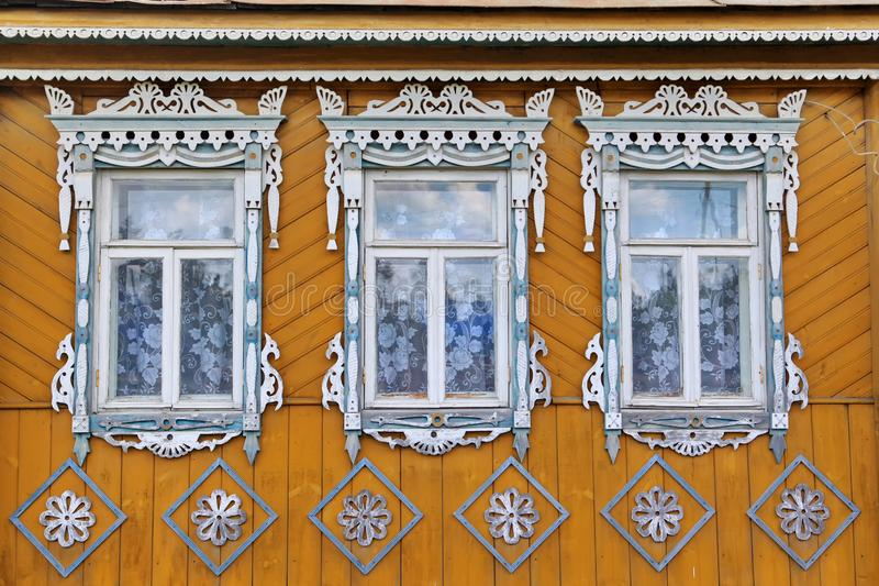 Wooden trim on the Windows of Russia stock image