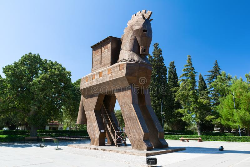 TROY, CANAKKALE, TURKEY - AUGUST 25, 2017: Wooden Trojan Horse in the Ancient City of Troy, Turkey royalty free stock image