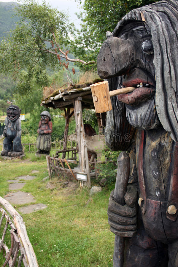 Wooden trolls stock photos