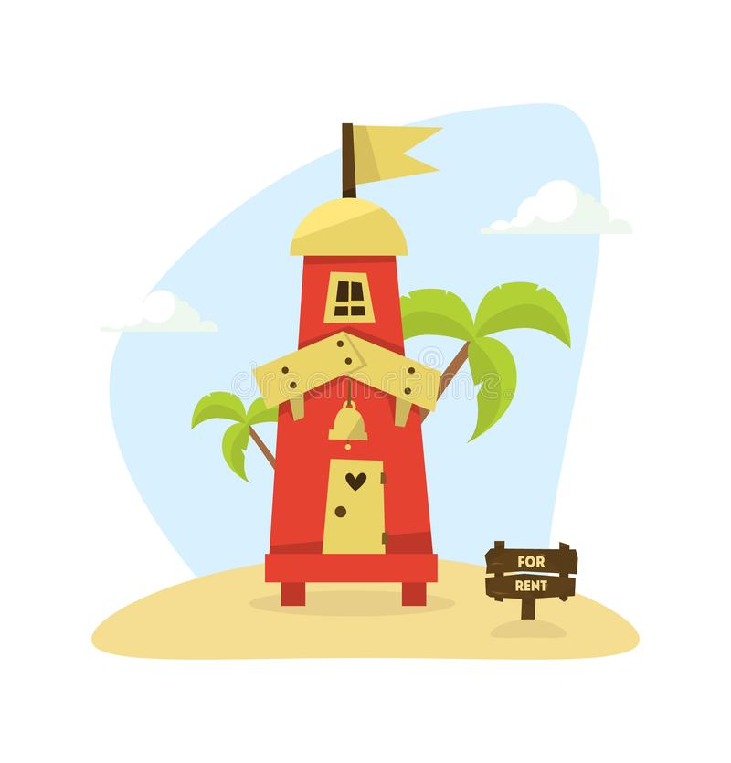 Wooden Tropical Bungalow, House on Beach for Rent, Travel and Vacation Vector Illustration. Web Design royalty free illustration