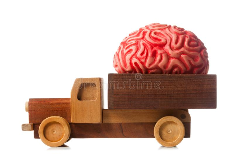 Wooden truck carries a rubber brain stock images