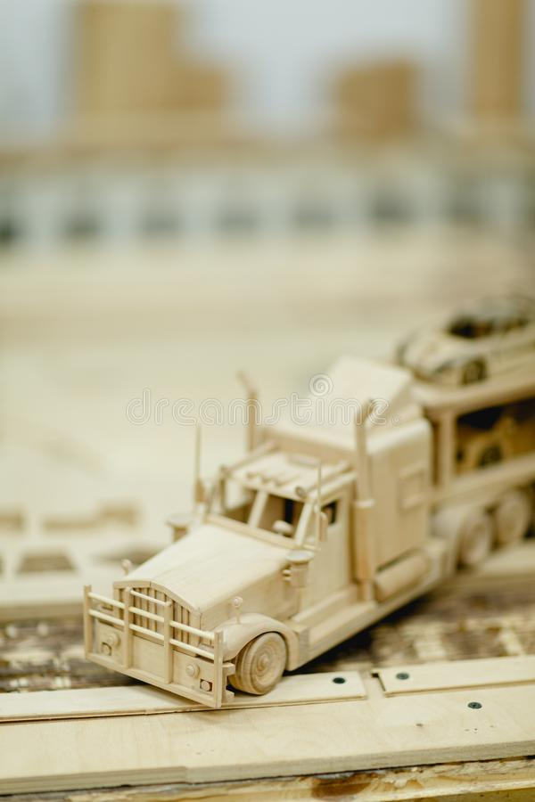 Wooden truck for transportation of cars close-up stock images