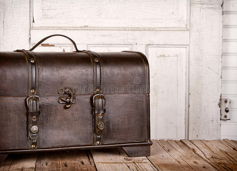 Wooden trunk or chest royalty free stock photography