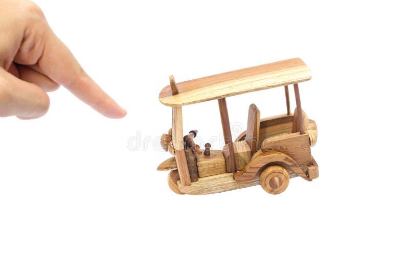 Wooden Tuk Tuk Taxi model. Three-Wheels on isolated photo royalty free stock image