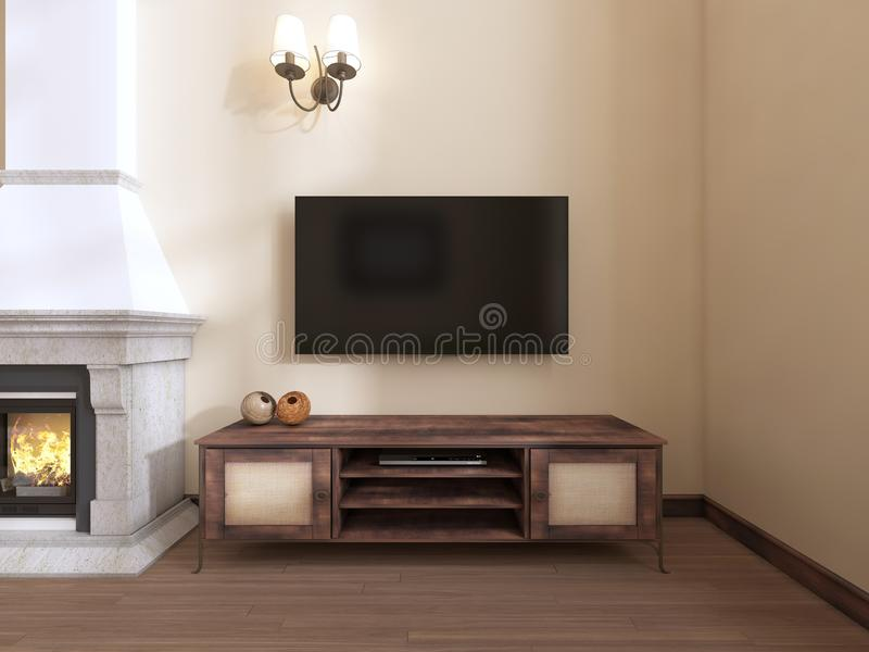 A wooden TV unit by the fireplace. 3D rendering vector illustration