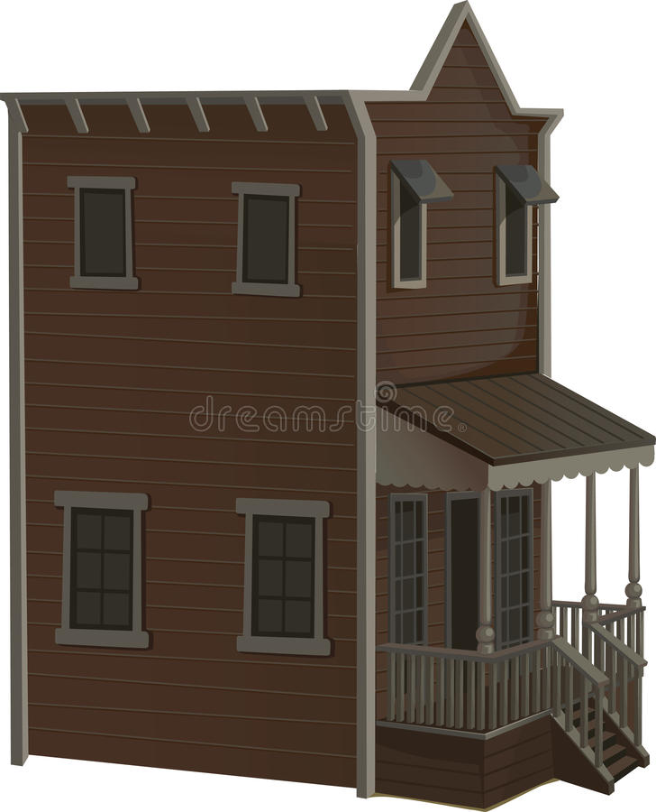 Wooden two-story house for the town wild west royalty free stock photos