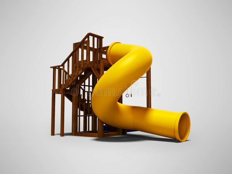 Wooden two-story slide tube yellow for teenagers 3d render on gray background with shadow stock illustration