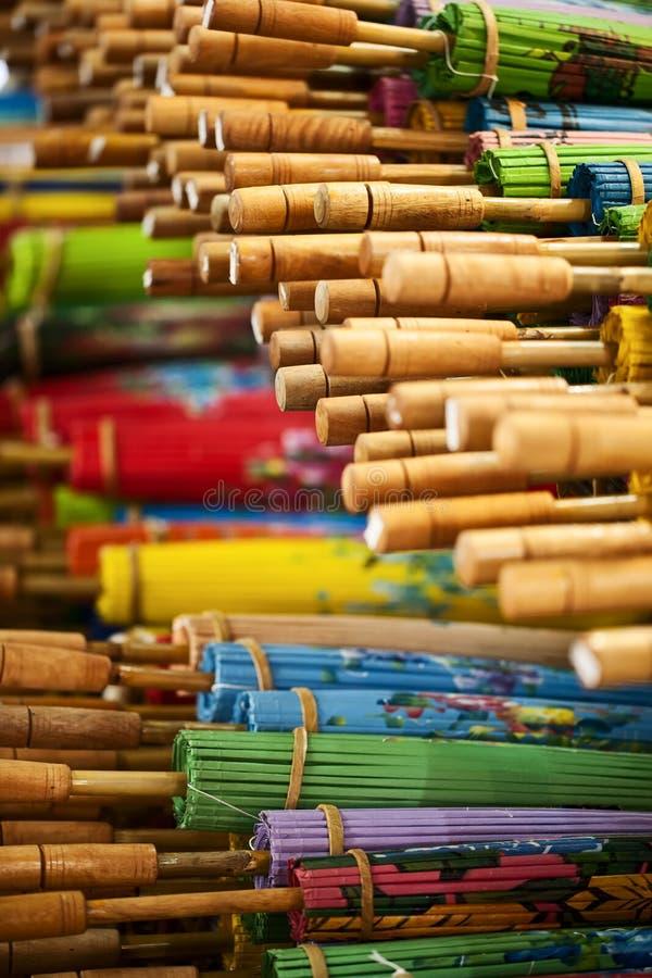Wooden Umbrellas Royalty Free Stock Photos