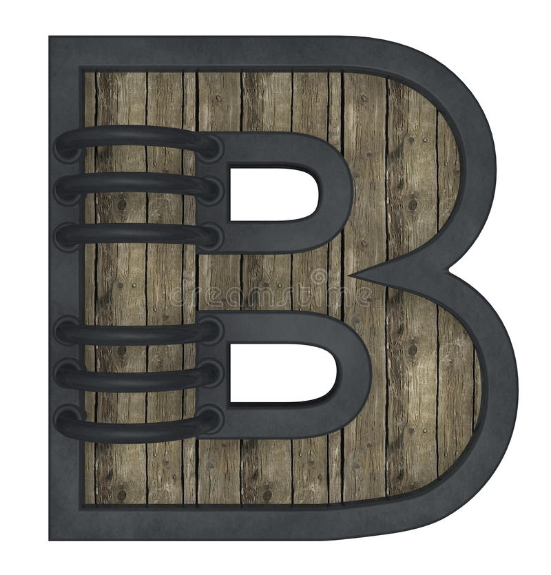 Wooden uppercase letter b with metal frame royalty free illustration