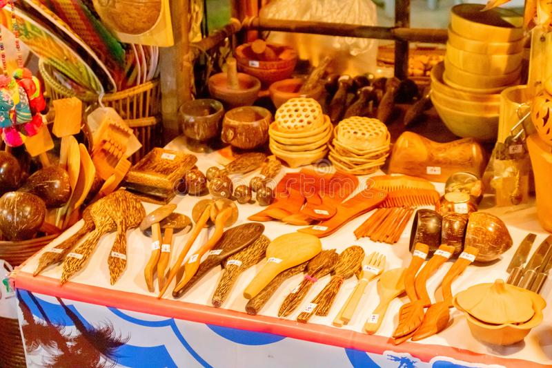 Wooden utensil for sale in Thai street market at Hua Hin, Thailand July 16,2018 royalty free stock photography