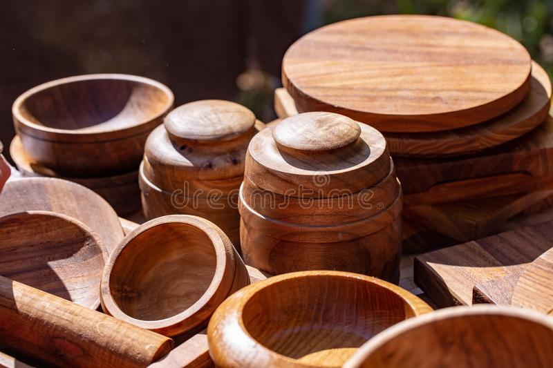Wooden utensils. natural wood kitchen utensils - plates and supplies.  stock images