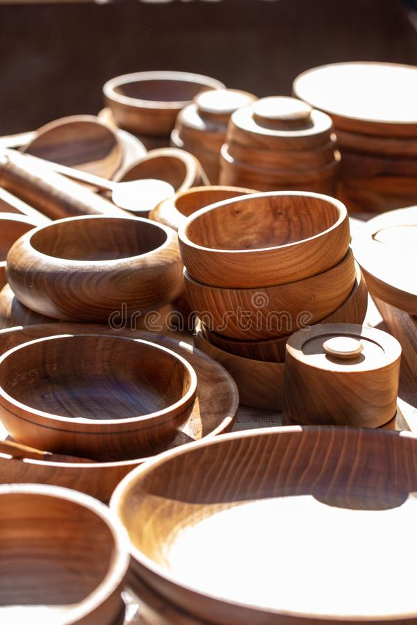 Wooden utensils. natural wood kitchen utensils - plates and supplies.  stock image
