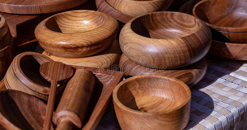 Wooden utensils. natural wood kitchen utensils - plates and supplies.  stock photo