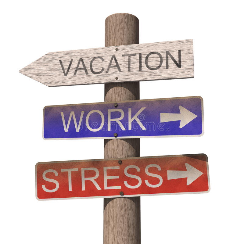 Wooden vacation sign stock photography