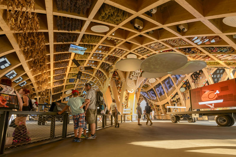 Wooden vaults inside French Pavilllon, EXPO 2015 Milan stock image