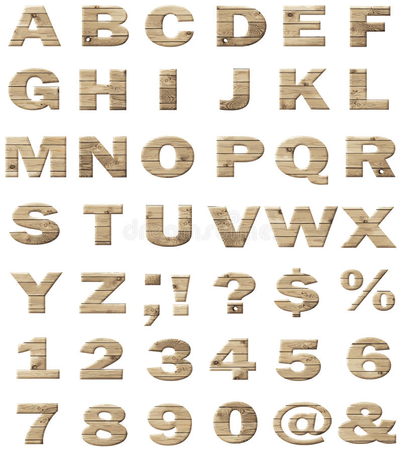 Wooden vector alphabet vector illustration