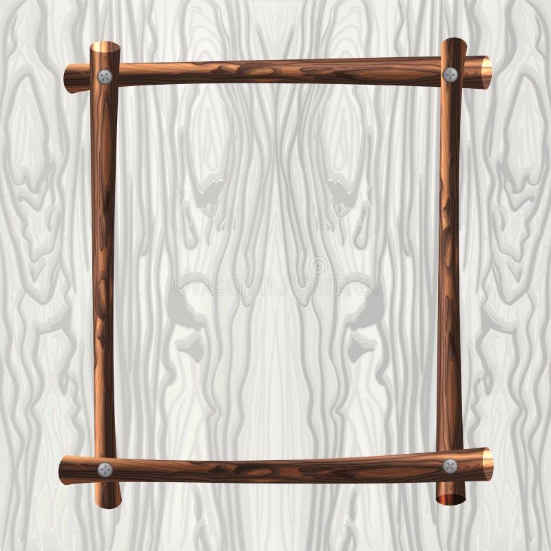 Wooden VECTOR Frame On Wood Background, Natural Frame Template. royalty free illustration