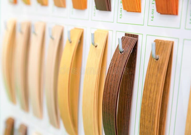 Wooden veneer samples palette closeup royalty free stock photos