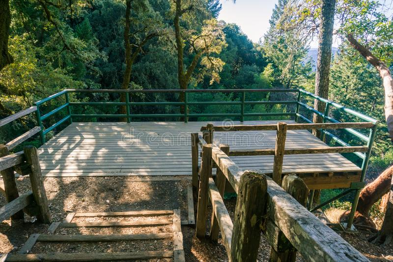 Wooden viewing deck in Castle Rock State Park, Santa Cruz mountains, San Francisco bay area, California royalty free stock image